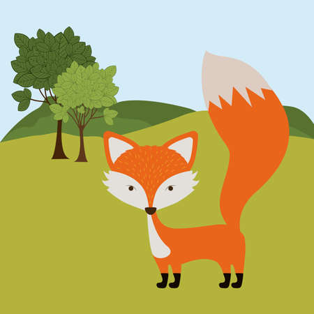 Animal design over landscape background, vector illustration Vector