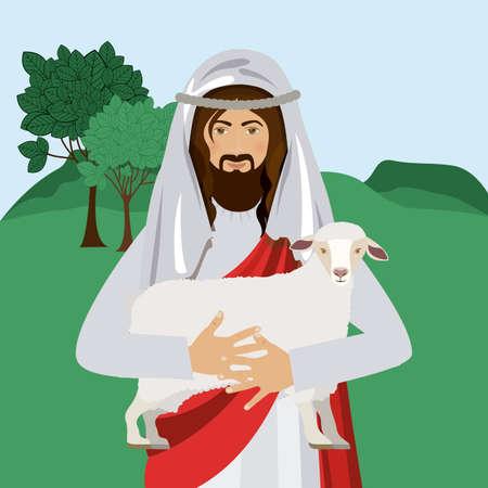 Christianity design over landscape background, vector illustration Vector