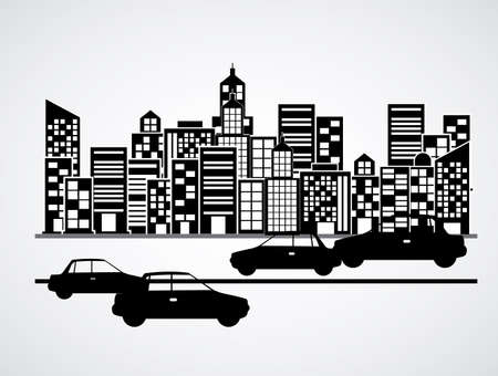 urbanization: Urban design over white background, vector illustration