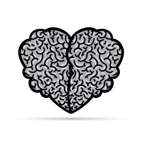 mentality: Brain design over white background, vector illustration