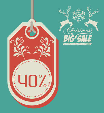 Christmas big sale label over green background Vector