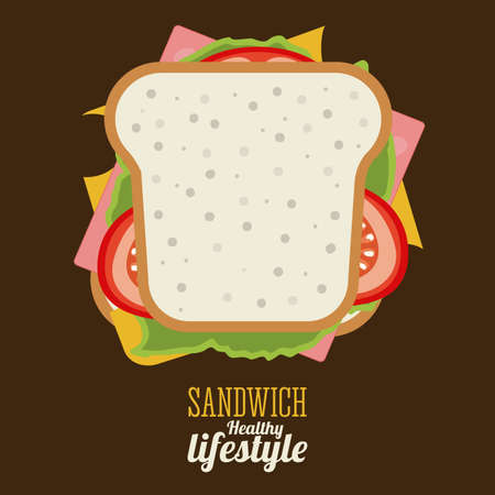 sandwiches: Food design over brown background, vector illustration