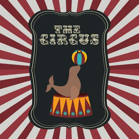 cirque: Progettazione Circo su strisce bianche e rosse, illustrazione vettoriale Vettoriali