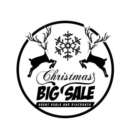 Christmas  sale label over white background vector illustration Vector