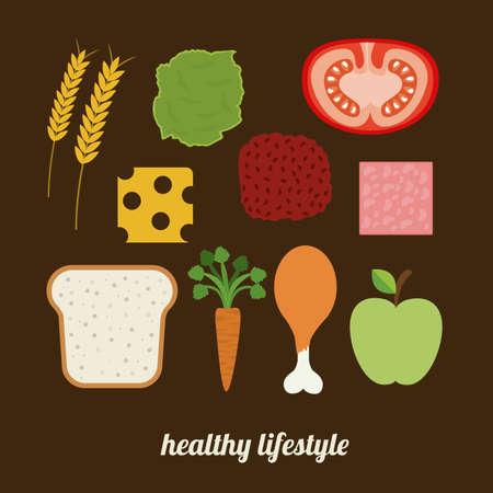 aliment: Food design over brown background, vector illustration