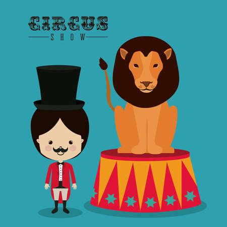 cirque: Disegno circo su sfondo blu, illustrazione vettoriale