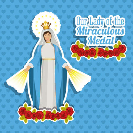 miraculous: Christianity design over blue background, vector illustration