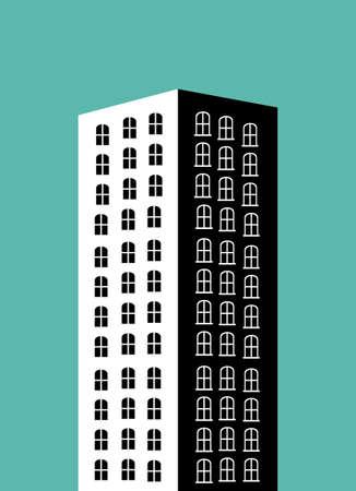 urbanisierung: Stadtgestaltung �ber blauem Hintergrund, Vektor-Illustration