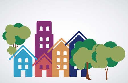 urbanisierung: Stadtgestaltung �ber wei�em Hintergrund, Vektor-Illustration