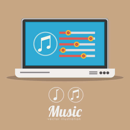 pc tune: Music design over brown background, vector illustration