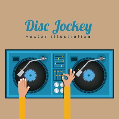 DJ design over beige background, vector illustration Illustration