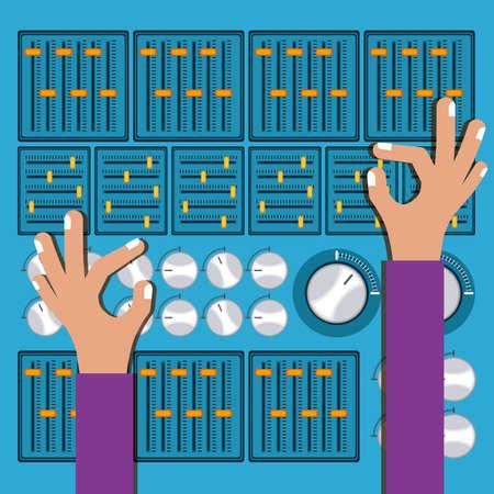DJ design over blue background, vector illustration