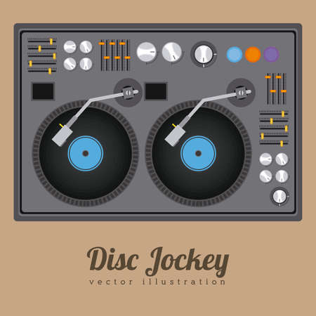 audio mixer: DJ design over brown background, vector illustration