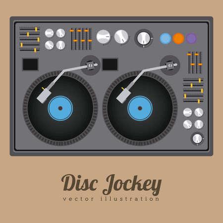 DJ design over brown background, vector illustration