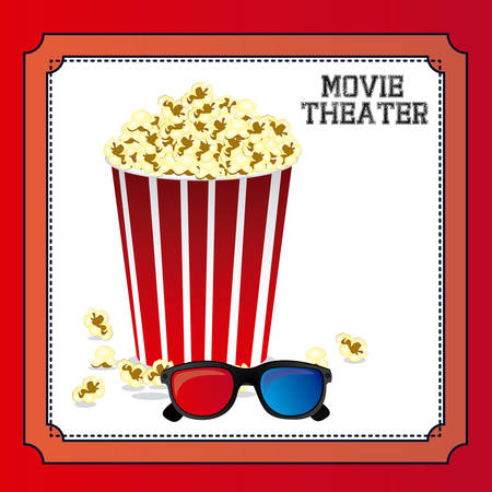 movie theater: movie theater over red background, vector illustration Illustration