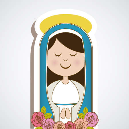 virgin mary over blue background, vector illustration
