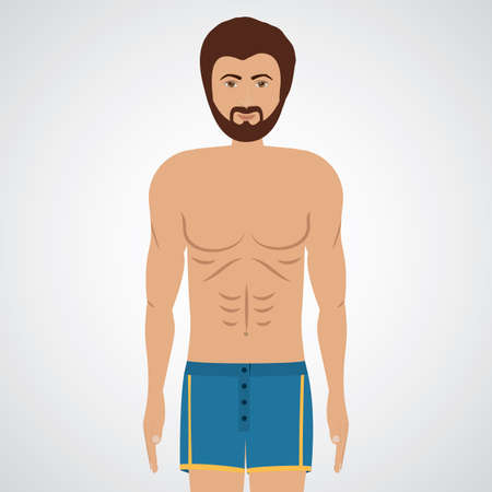 ollection: man wearing boxer shorts over white background, vector illustration Illustration