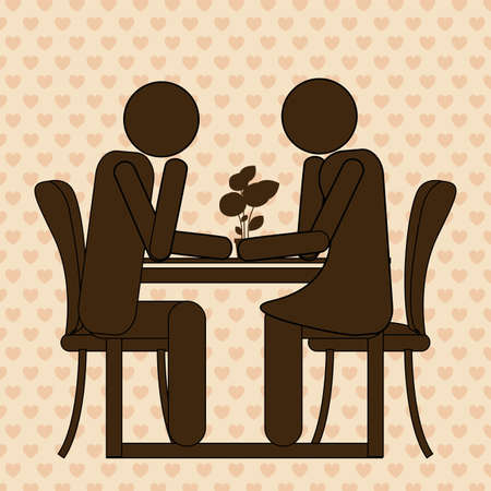 couple dating: couple dating over beige background, vector illustration