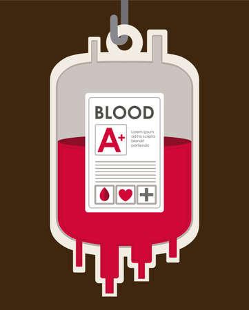 blood bag: Medical design over brown background, vector illustration