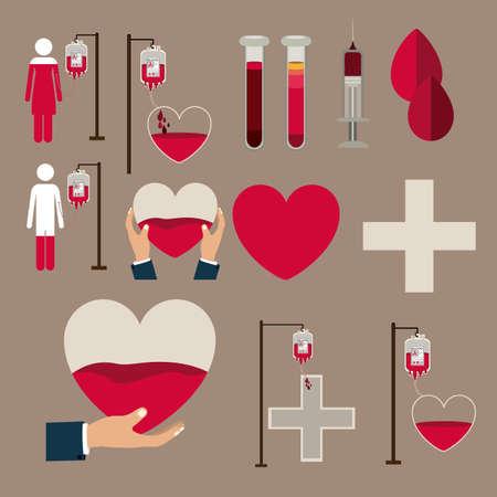 blood donation: Medical design over brown background, vector illustration