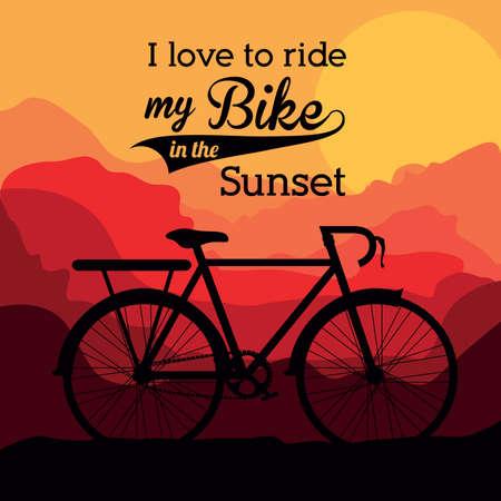 bike vector: Dise�o de la bici sobre fondo de paisaje, ilustraci�n vectorial