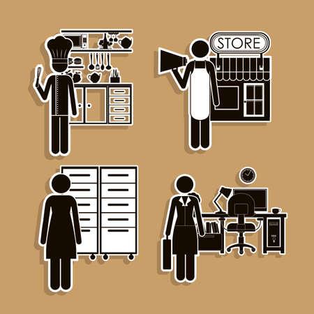 grocer: Profession design over beige background, vector illustration
