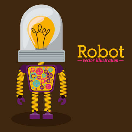 Robot design over brown background, vector illustration Vector