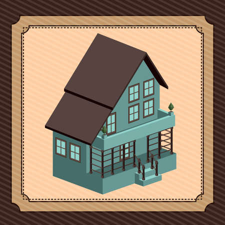 hometown: Home design over brown background, vector illustration