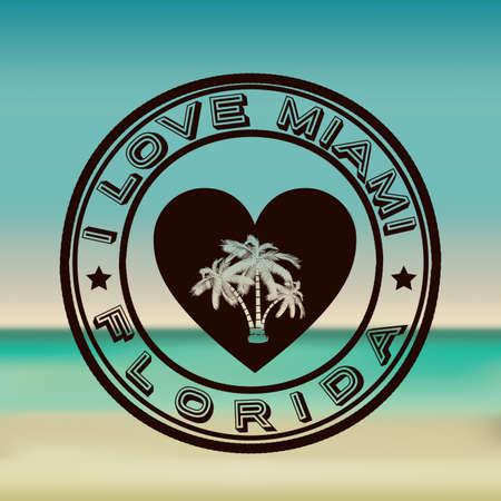 miami: Miami design over beachscape background, vector illustration Illustration