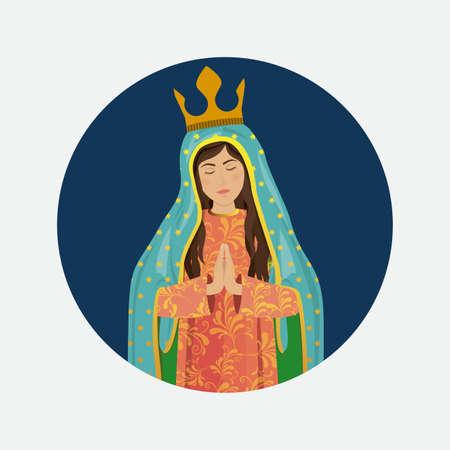 vierge marie: Conception christianisme sur fond blanc, illustration vectorielle