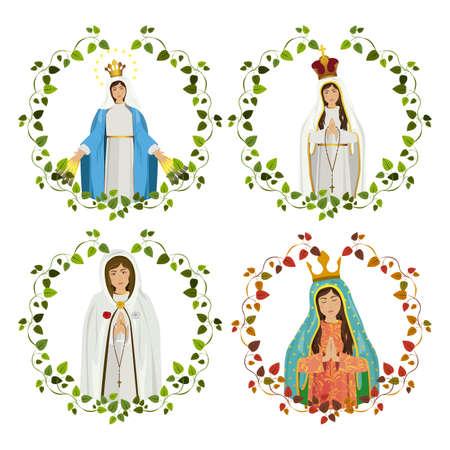 virgen maria: Diseño cristianismo sobre fondo blanco, ilustración vectorial
