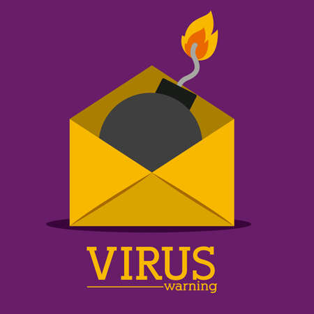 email bomb: Security design over purple background, vector illustration Illustration