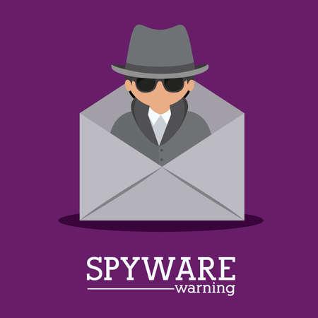 Security design over purple background, vector illustration Illustration