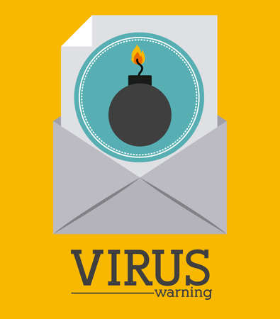email bomb: Security design over yellow background, vector illustration Illustration