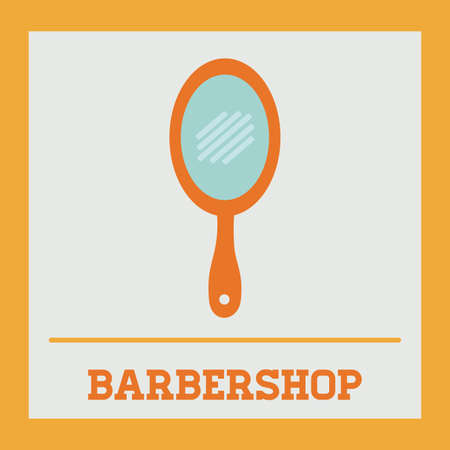 mirrow: Barber design over yellow background, vector illustration
