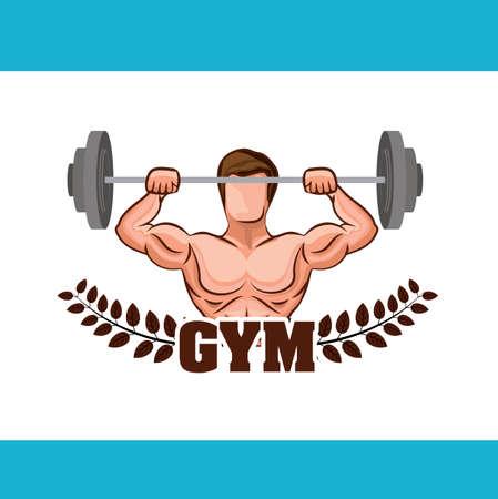 body building exercises: Fitness design over blue background,  vector illustration