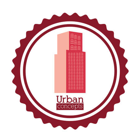 urbanisierung: Urbanes Design �ber wei�em Hintergrund Illustration