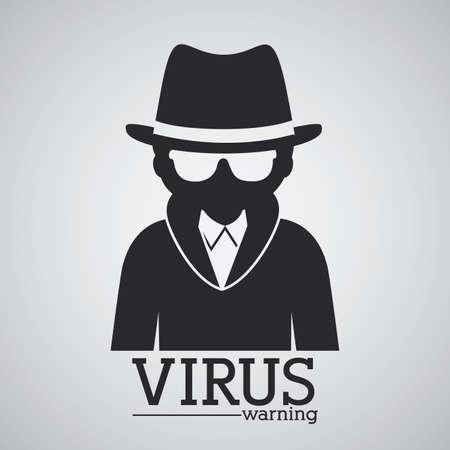 spyware: Dise�o Virus sobre fondo gris, ilustraci�n vectorial