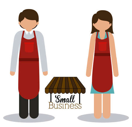 small business woman: Stores design over white background,vector illustration