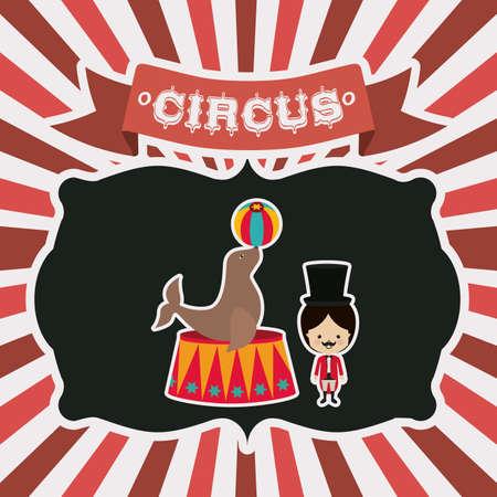 cirque: Disegno Circo su strisce sfondo rosso, illustrazione vettoriale Vettoriali