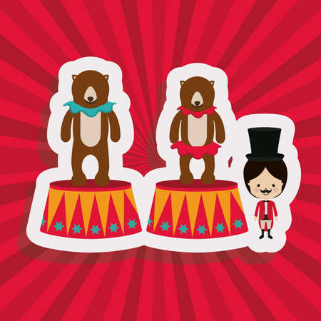 fondo de circo: Diseño del circo sobre fondo rojo, ilustración vectorial