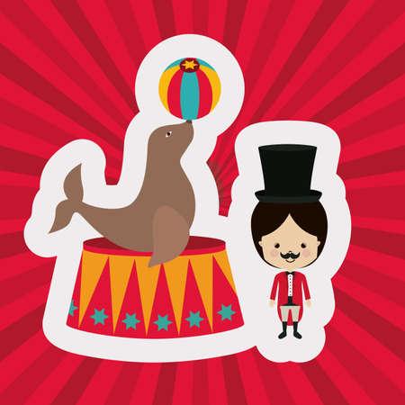 cirque: Disegno circo su sfondo rosso, illustrazione vettoriale