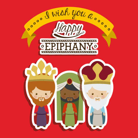 melchior: Happy epiphany design over red background, vector illustration. Illustration