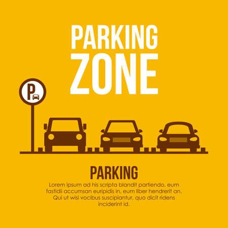 car: Aparcamiento diseño sobre fondo amarillo, ilustración vectorial. Vectores