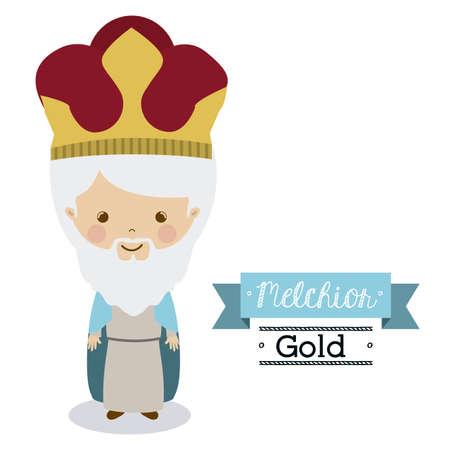 melchior: Happy epiphany design over white background, vector illustration. Illustration
