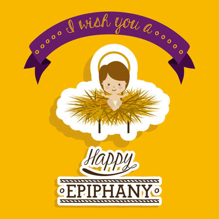 baby jesus: Happy epiphany design over yellow background, vector illustration. Illustration