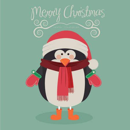 pinguino caricatura: Diseño Feliz Navidad sobre fondo azul, ilustración vectorial. Vectores