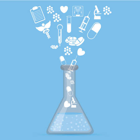 chemically: Medical design over blue background, vector illustration.