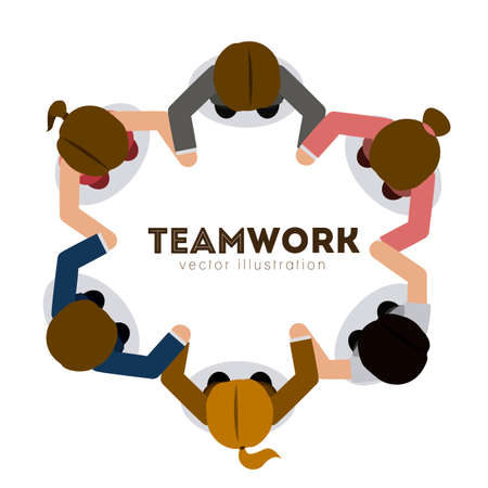 community help: Teamwork design over white background,vector illustration.
