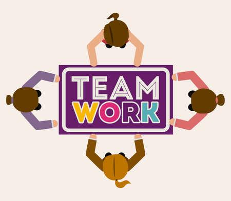 womens work: Teamwork design over gray background,vector illustration.